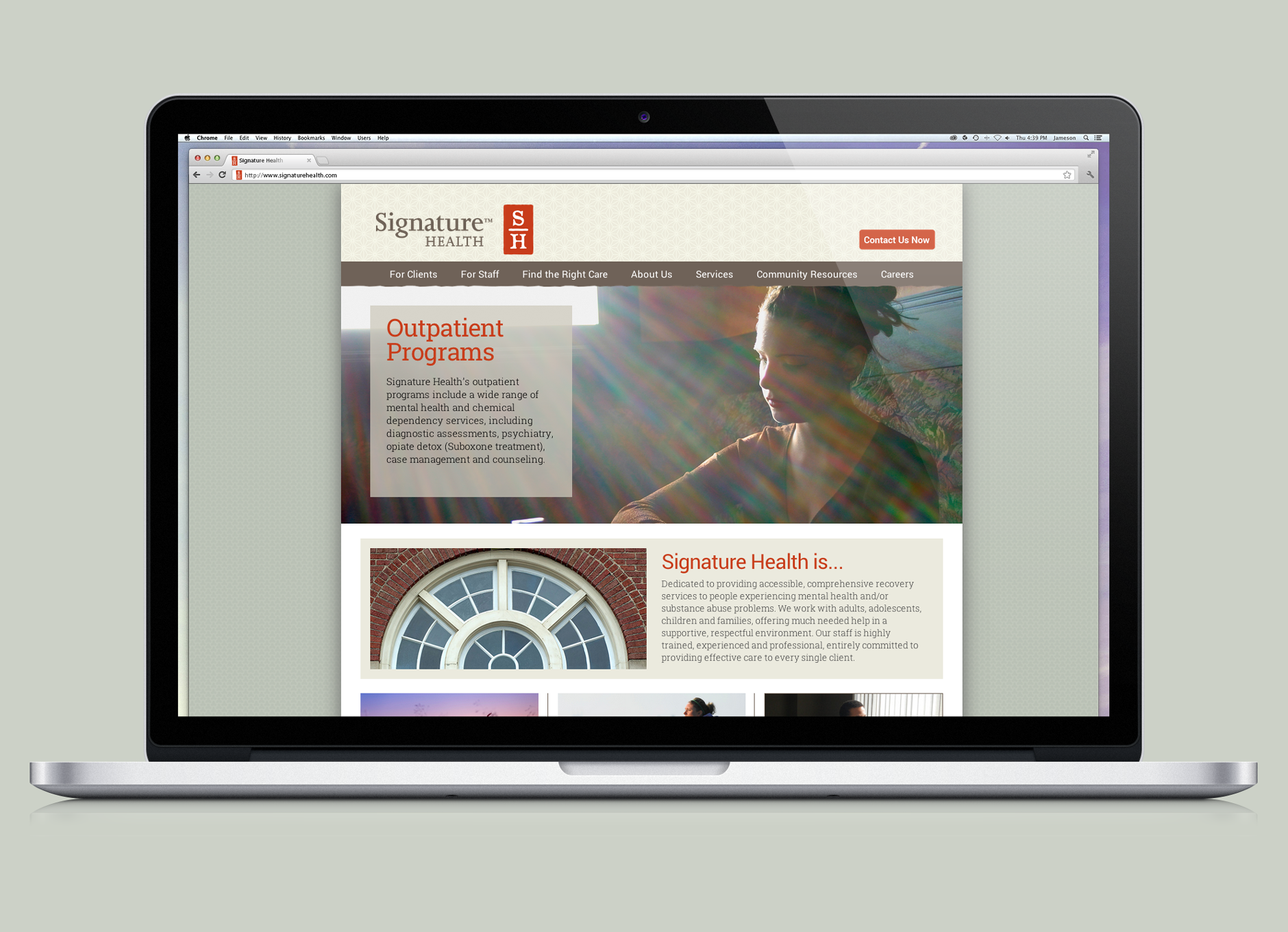 Signature Health Website Design | behavioral health logo design
