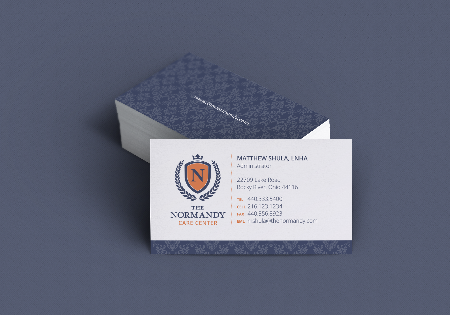 The Normandy Care Center Business Cards | Rebranding Agency