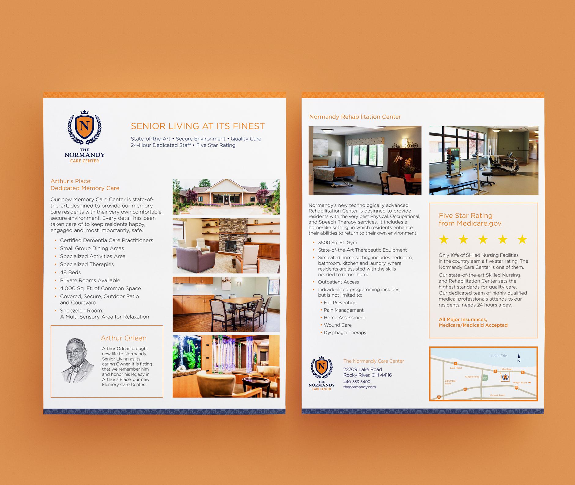 The Normandy Care Center Sell Sheet Design | Rebranding Agency