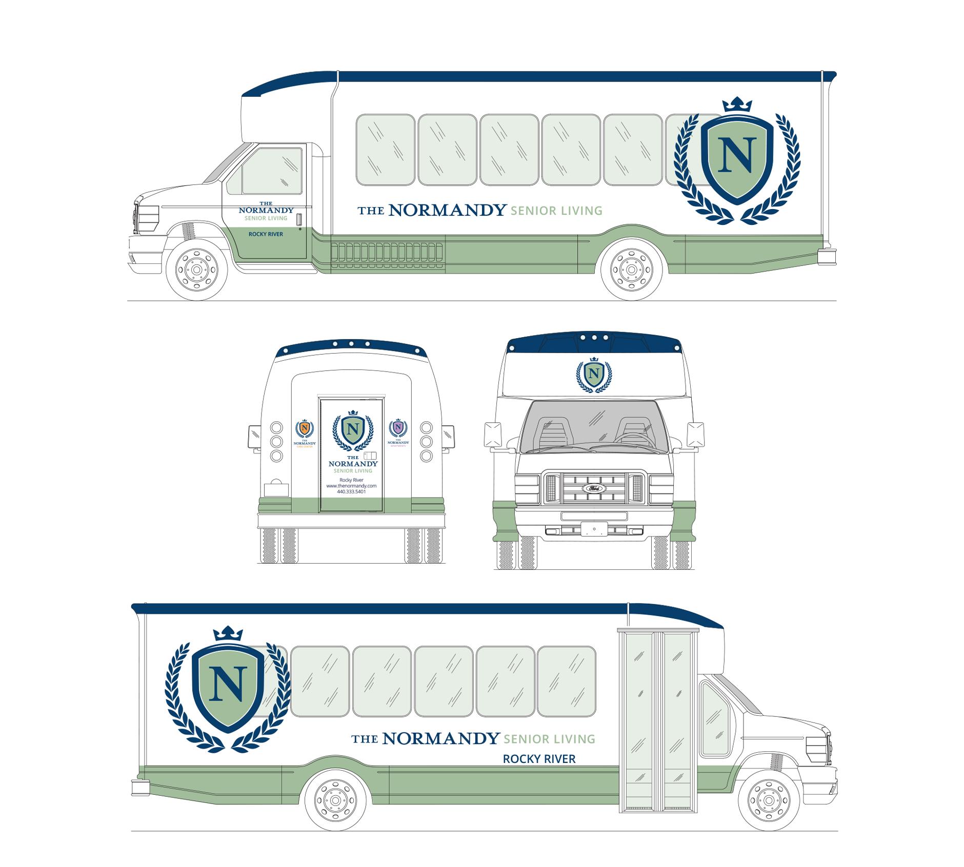 The Normandy Senior Living Fleet Bus Graphic | Rebranding Agency