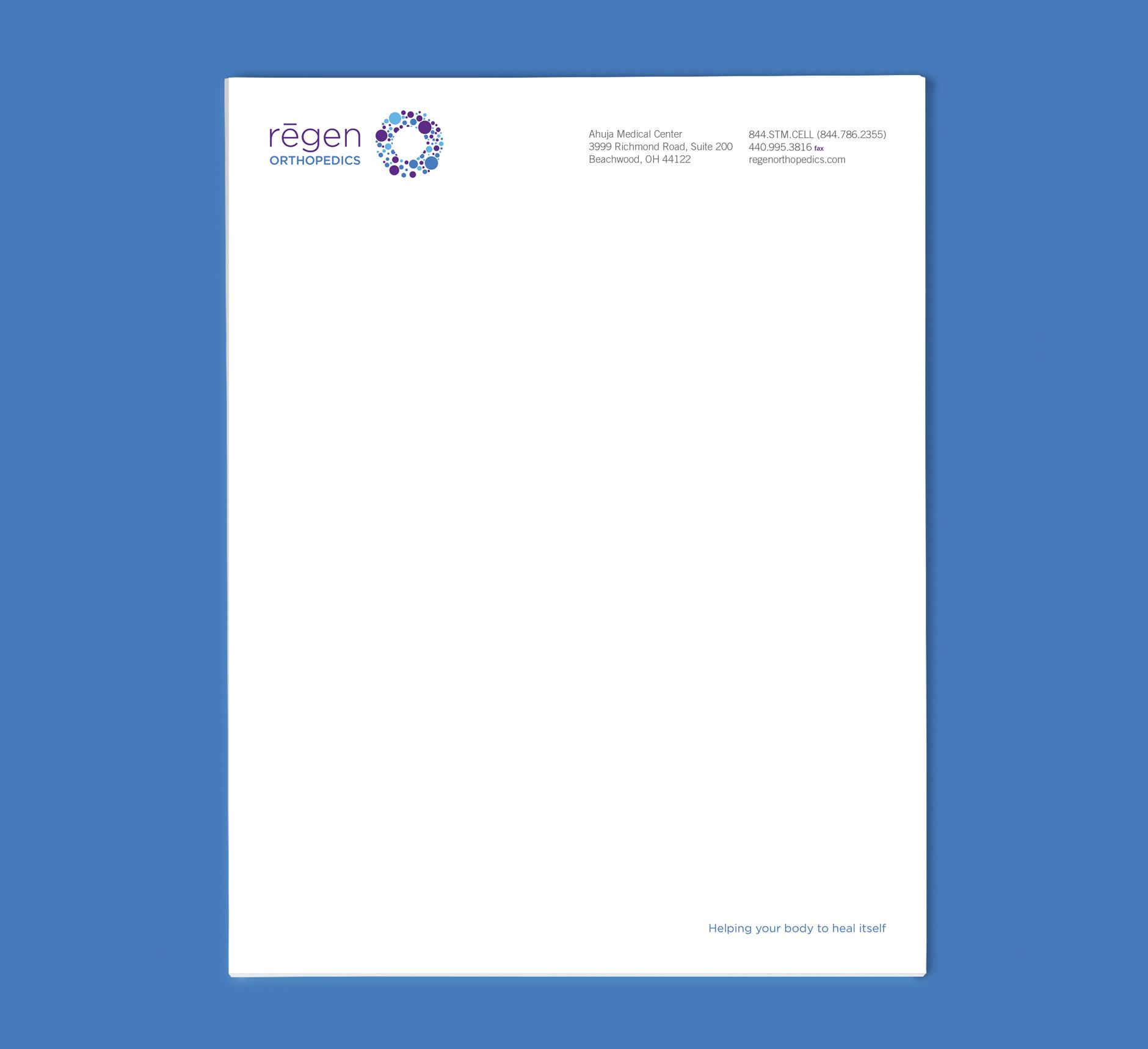 Regen Orthopedics Letterhead | branding and healthcare