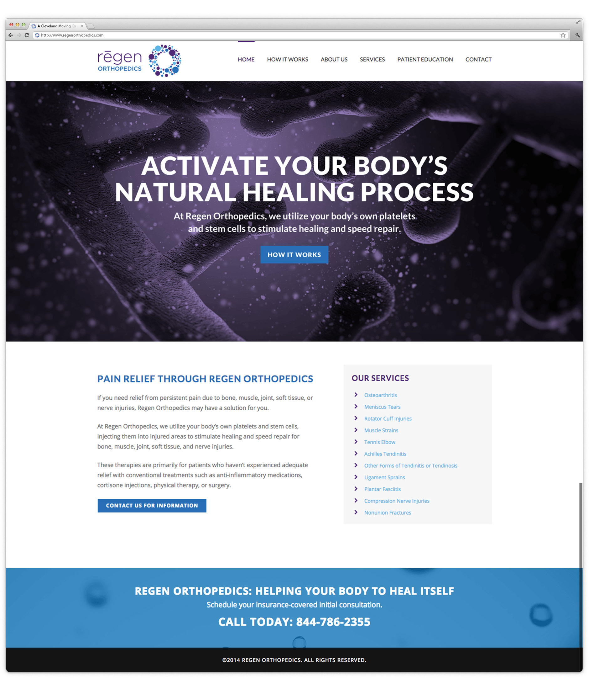 Regen Orthopedics Web Design