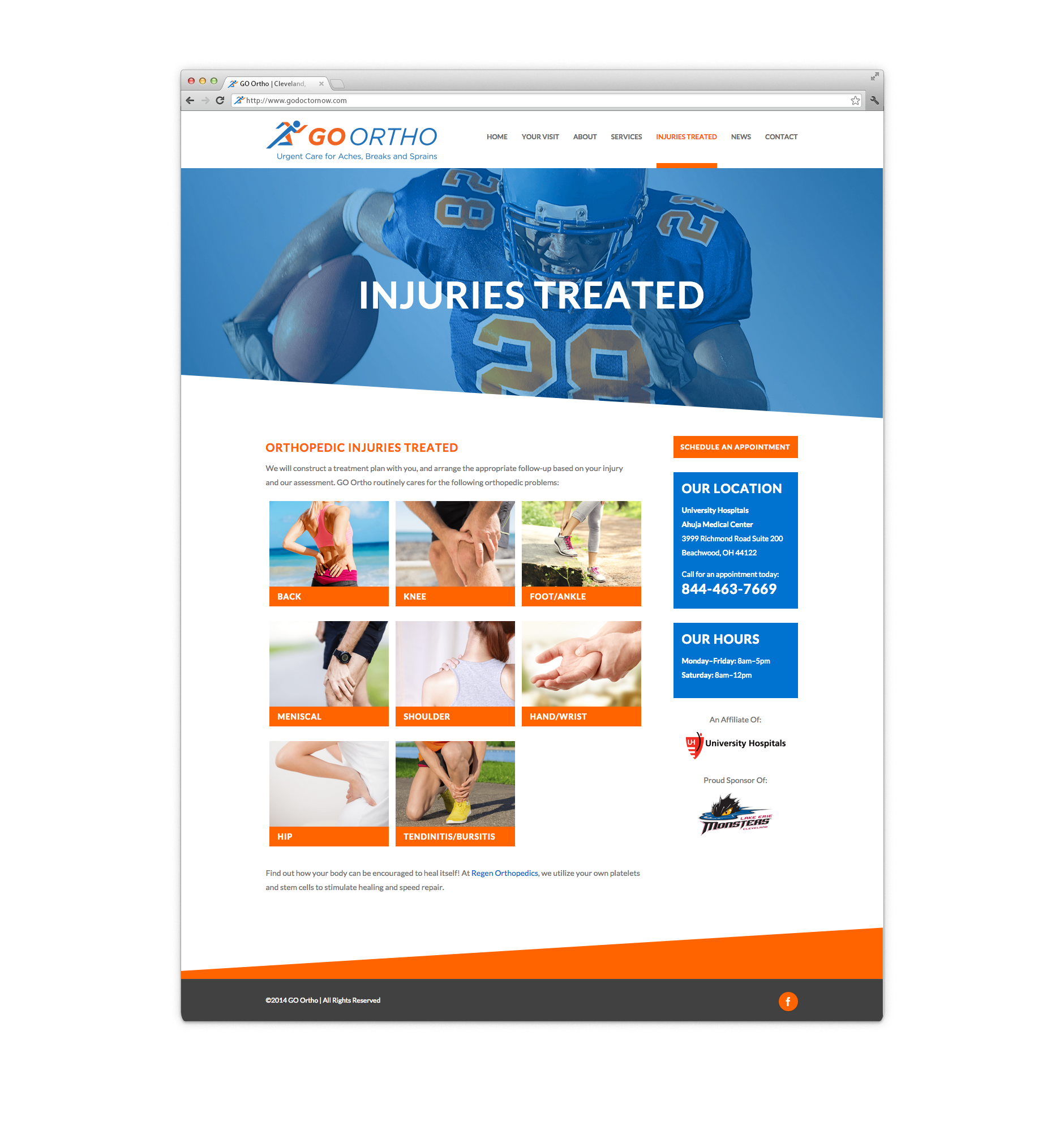 GO Ortho - Injuries Treated Page Design | Health Care Branding