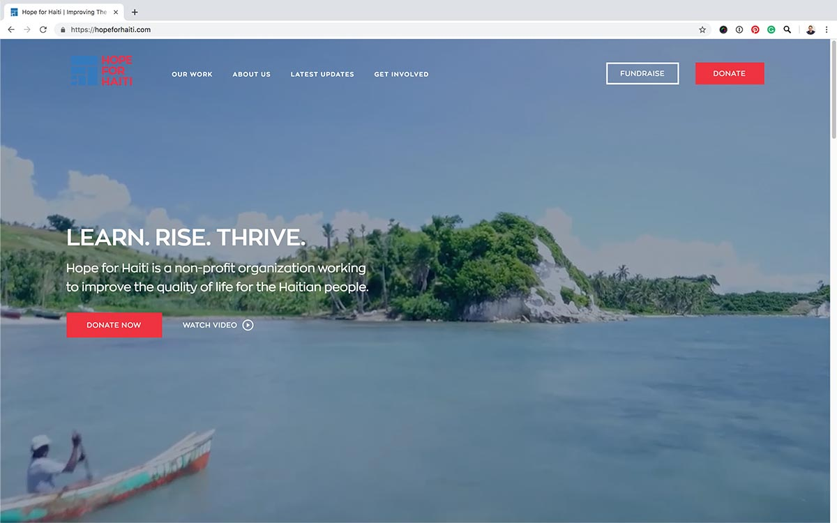 Hope for Haiti website home page screenshot.